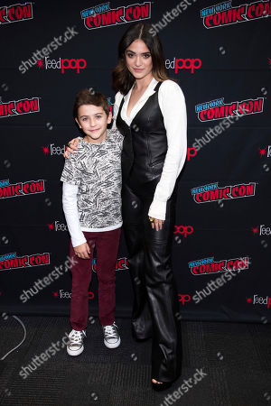 """Luna Blaise, Jack Messina. Jack Messina and Luna Blaise attend New York Comic Con to promote NBC's """"Manifest"""" at the Jacob K. Javits Convention Center, in New York"""