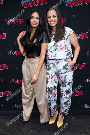 """Stock Picture of Athena Karkanis, Parveen Kaur. Parveen Kaur, left, and Athena Karkanis attend New York Comic Con to promote NBC's """"Manifest"""" at the Jacob K. Javits Convention Center, in New York"""