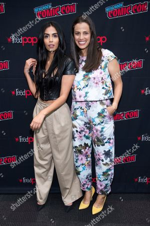 """Stock Image of Athena Karkanis, Parveen Kaur. Parveen Kaur, left, and Athena Karkanis attend New York Comic Con to promote NBC's """"Manifest"""" at the Jacob K. Javits Convention Center, in New York"""