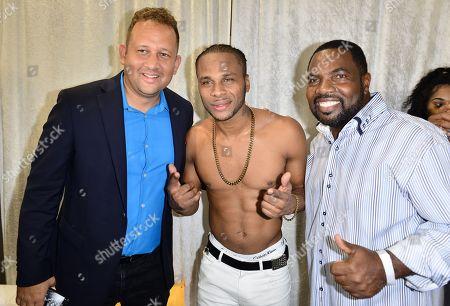 Jamaica consul general to Miami Oliver Mair, Reggae Singer Dexta Daps and City of Miramar Commissioner Maxwell B. Chambers backstage