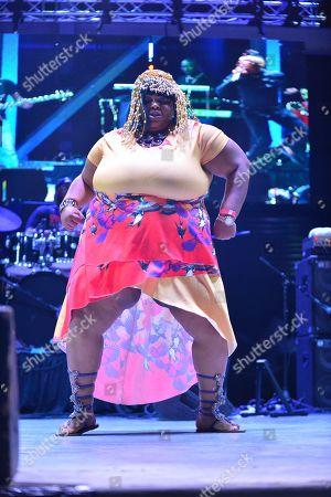 Nay Nay dancing onstage during Reggae Singer Dexta Daps performing