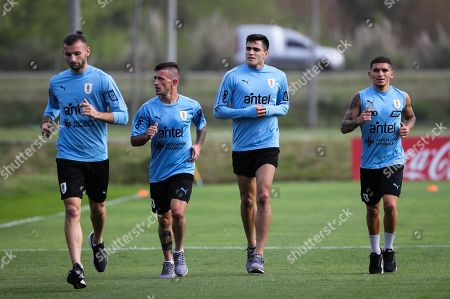 (L-R) Gaston Silva, Brian Lozano, Maximiliano Rodriguez and Lucas Torreira of the Uruguayan national soccer team train before next Friday's friendly match against Peru, in Montevideo, Uruguay, 07 October 2019.