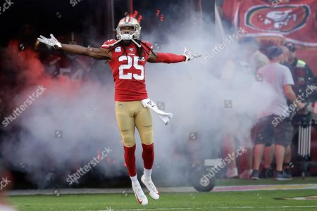 San Francisco 49ers cornerback Richard Sherman (25) is introduced before an NFL football game against the Cleveland Browns in Santa Clara, Calif