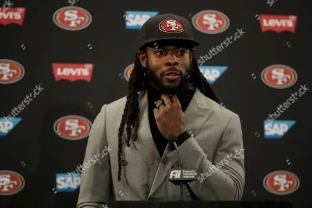 San Francisco 49ers cornerback Richard Sherman speaks at a news conference after an NFL football game against the Cleveland Browns in Santa Clara, Calif
