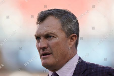San Francisco 49ers general manager John Lynch before an NFL football game against the Cleveland Browns in Santa Clara, Calif