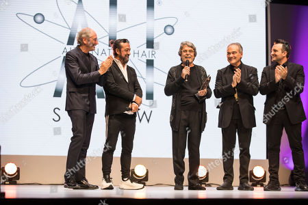 Stock Photo of Anthony Mascolo and Tony Rizzo presenting Raffel Pages lifetime achievement award at EXCEL centre, Custom House