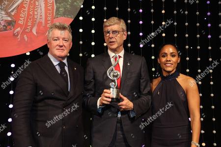 Geoff Shreeves, Alex Scott, Arsene Wenger on stage