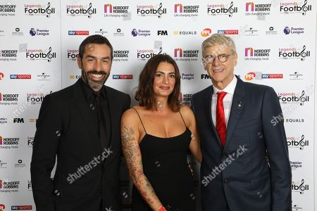 Robert Pires and Jessica Lemarie-Pires with Arsene Wenger