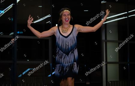 Barbora Strycova of the Czech Republic arrives at the players party ahead of the WTA International tennis tournament