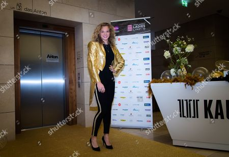 Katerina Siniakova of the Czech Republic arrives at the players party ahead of the WTA International tennis tournament
