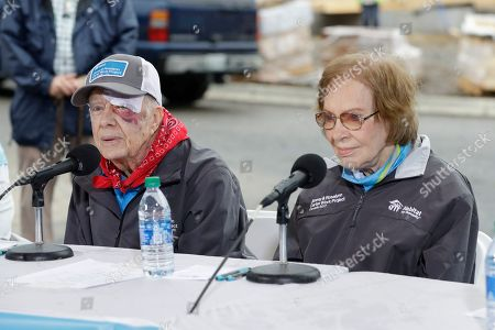 Former President Jimmy Carter and former First Lady Rosalynn Carter answer questions during a news conference at a Habitat for Humanity project, in Nashville, Tenn. Jimmy Carter wears a bandage after a fall the day before at his home in Plains, Ga