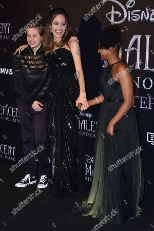 Angelina Jolie, Shiloh Jolie-Pitt and Zahara Jolie-Pitt