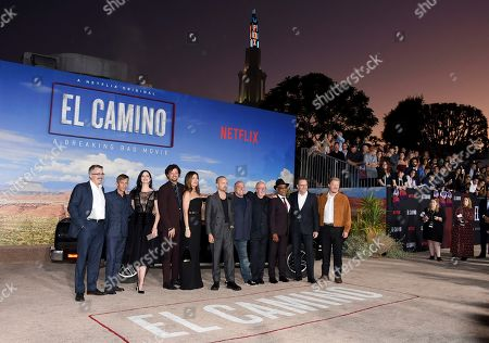 "Vince Gilligan, Charles Baker, Krysten Ritter, Matt Jones, Betsy Brandt, Aaron Paul, Dean Norris, Jonathan Banks, Giancarlo Esposito, Bryan Cranston, Jesse Plemons. From left, Vince Gilligan, Charles Baker, Krysten Ritter, Matt Jones, Betsy Brandt, Aaron Paul, Dean Norris, Jonathan Banks, Giancarlo Esposito, Bryan Cranston, and Jesse Plemons arrive at the Los Angeles premiere of ""El Camino: A Breaking Bad Movie"" at the Regency Village Theatre on in Westwood, Calif"