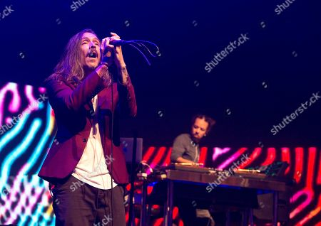 """Brandon Boyd, Ben Kenney. Brandon Boyd, left, and Chris Kilmore of the band Incubus perform in concert during their """"20 Years of Make Yourself and Beyond Tour"""" at The Met, in Philadelphia"""