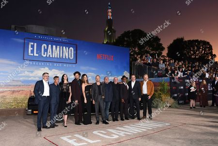 "Vince Gilligan, Charles Baker, Krysten Ritter, Matt Jones, Betsy Brandt, Aaron Paul, Dean Norris, Jonathan Banks, Giancarlo Esposito, Bryan Cranston, Jesse Plemons. From left, Vince Gilligan, Charles Baker, Krysten Ritter, Matt Jones, Betsy Brandt, Aaron Paul, Dean Norris, Jonathan Banks, Giancarlo Esposito, Bryan Cranston and Jesse Plemons arrive at the Los Angeles premiere of ""El Camino: A Breaking Bad Movie,"" at the Regency Village Theatre, in Westwood, Calif"