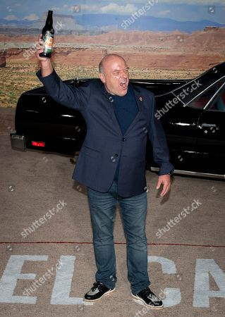 Dean Norris poses for photographers while holding a bottle of Schraderbraeu beer as he arrives at the premiere of the Netflix production El Camino: A Breaking Bad Movie, at the Regency Village Theatre in Los Angeles, USA, 07 October 2019.