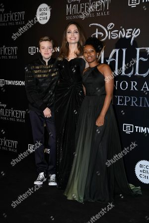 Angelina Jolie with her children Shiloh Jolie-Pitt and Zahara Jolie-Pitt