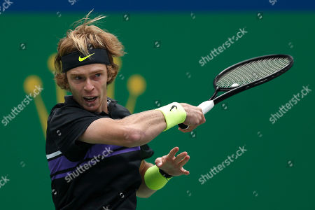 Andrey Rublev, of Russia watches his shot as he plays against Borna Coric of Croatia in their men's singles match at the Shanghai Masters tennis tournament at Qizhong Forest Sports City Tennis Center in Shanghai, China