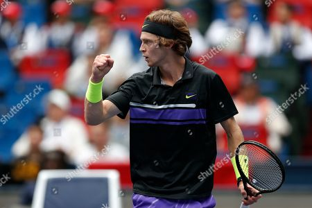 Andrey Rublev, of Russia reacts as he plays against Borna Coric of Croatia in their men's singles match at the Shanghai Masters tennis tournament at Qizhong Forest Sports City Tennis Center in Shanghai, China