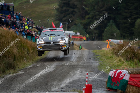 SS13 Sweet Lamb Hafren, Wales Rally GB 2019 Stage 13: Petter Solberg & Co Driver Phil MILLS competing in the Volkswagen Polo R5 takes flight in Petter's final WRC season.