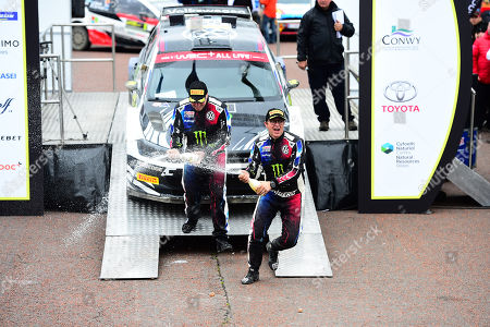 Wales Rally GB 2019 Podium: Petter Solberg & Co Driver Phil MILLS competing in the Volkswagen Polo R5 celebrate by spraying Champagne on friends and family