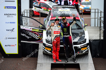 Wales Rally GB 2019 Podium: Petter Solberg & Oliver Solberg together on the podium