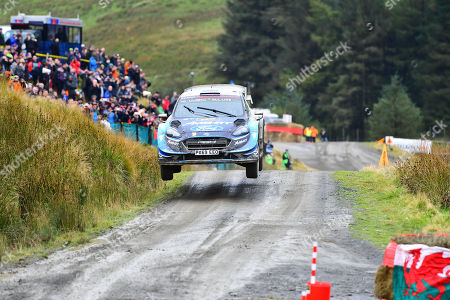 SS13 Sweet Lamb Hafren, Wales Rally GB 2019 Stage 13: Elfyn EVANS & Co Driver Scott Martin competing in the Ford Fiesta WRC for M-Sport Ford World Rally Team powers over the jump at Sweet Lamb