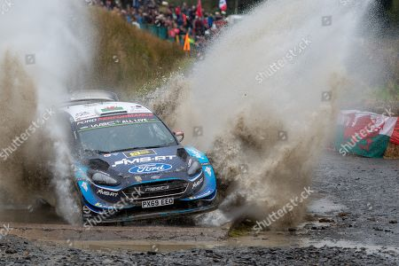 Stock Image of SS13 Sweet Lamb Hafren, Wales Rally GB 2019 Stage 13: Elfyn EVANS & Co Driver Scott Martin competing in the Ford Fiesta WRC for M-Sport Ford World Rally Team hits the water splash at Sweet Lamb.