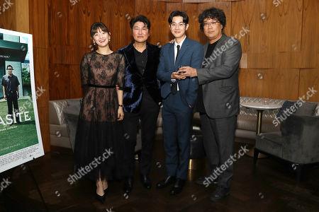 Stock Photo of Park So Dam, Song Kang Ho, Choi Woo Shik and Bong Joon Ho (Director)