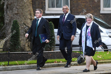 Robert Buckland, Secretary of State for Justice, James Cleverly, Conservative Party Chairman, and Therese Coffey, Secretary of State at the Department for Work and Pensions, arriving at No.10 Downing Street, London.