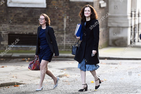 Natalie Evans, Leader of the House of Lords, and Theresa Villiers, Secretary of Sate for Enviornment, Food and Rural Affairs, arriving at No.10 Downing Street, London.