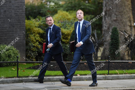 Alun Cairns, Secretary of State for Wales, and Matt Hancock, Health Secretary, arriving at No.10 Downing Street, London.
