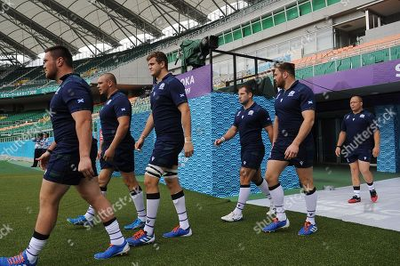 (L to R) Zander Fagerson, Gordon Reid, Scott Cummings, Fraser Brown, SimonBerghanand WP Nel - Scotland players walk out onto the field for the start of the session ahead of tomorrow's game against Russia.