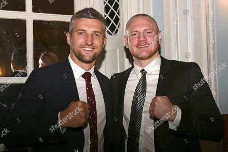 Carl Froch (L) and George Groves during the Boxing Writers Club Annual Dinner at the Savoy Hotel on 7th October 2019