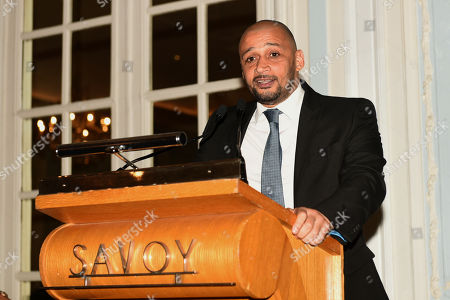 Stock Image of Curtis Woodhouse speaks during the Boxing Writers Club Annual Dinner at the Savoy Hotel on 7th October 2019