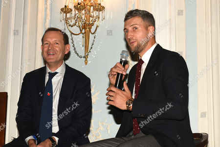 Stock Picture of Carl Froch (R) and Adam Smith during the Boxing Writers Club Annual Dinner at the Savoy Hotel on 7th October 2019