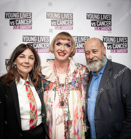 Susan Young, Grayson Perry with CLIC Sargent Ambassador Richard Young