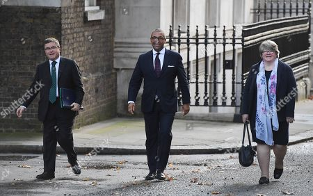 (L-R) Lord Chancellor and Secretary of State for Justice Robert Buckland, Party Chairman James Cleverly and British Secretary of State for Work and Pensions Therese Coffey arrive for a cabinet meeting at 10 Downing Street in London, Britain, 08 October 2019.