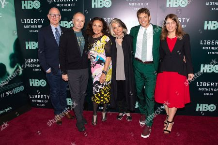 "Randy Barbato, Fenton Bailey, Diane Von Furstenberg, Sheila Nevins, Jason Blum, Nancy Abraham. Directors/producers Randy Barbato, from left, Fenton Bailey, executive producers Diane Von Furstenberg, Sheila Nevins, Jason Blum, and HBO executive producer Nancy Abraham attend the world premiere of HBO's ""Liberty: Mother of Exiles"" at NYIT Auditorium on Broadway, in New York"