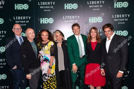 "Randy Barbato, Fenton Bailey, Diane Von Furstenberg, Sheila Nevins, Jason Blum, Nancy Abraham, David Copperfield. Directors/producers Randy Barbato, from left, Fenton Bailey, executive producers Diane Von Furstenberg, Sheila Nevins, Jason Blum, HBO executive producer Nancy Abraham, and David Copperfield attend the world premiere of HBO's ""Liberty: Mother of Exiles"" at NYIT Auditorium on Broadway, in New York"