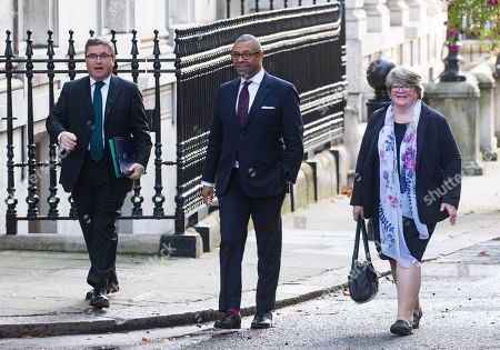 Robert Buckland, Lord Chancellor and Secretary of State for Justice, James Cleverly, Party Chairman, and Therese Coffey, Secretary of State for Work and Pensions, arrive for the Cabinet meeting.