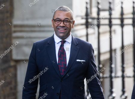 James Cleverly, Party Chairman, arrives for the Cabinet meeting.