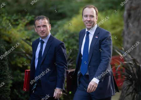 Matt Hancock, Secretary of State for Health and Social Care and Alun Cairns, Secretary of State for Wales, arrive for the Cabinet meeting.