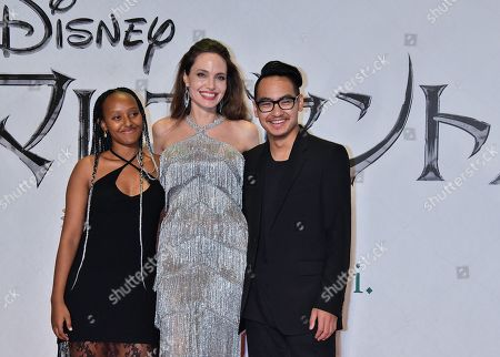 (L-R) Zahara Jolie-Pitt, Angelina Jolie and Maddox Jolie-Pitt