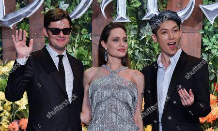 (L-R) Sam Riley, Angelina Jolie and Japanese guitarist Miyavi