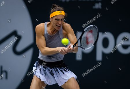 Andrea Petkovic of Germany in action during the first round of the 2019 Upper Austria Ladies Linz WTA International tennis tournament