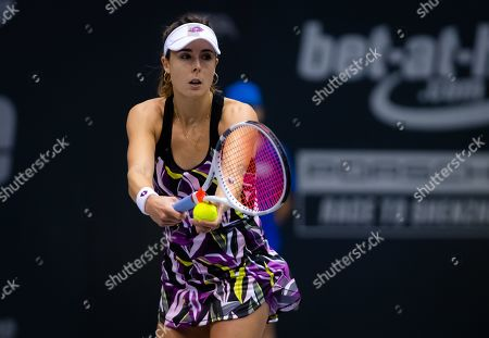 Stock Photo of Alize Cornet of France in action during the first round of the 2019 Upper Austria Ladies Linz WTA International tennis tournament