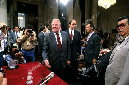United States Attorney General Edwin Meese, III arrives to give testimony before the US House Select Committee to Investigate Covert Arms Transactions with Iran / US Senate Select Committee on Secret Military Assistance to Iran and the Nicaraguan Opposition (Iran/Contra Committee) on Capitol Hill in Washington, DC.