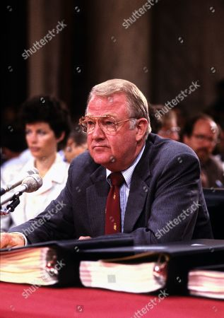 United States Attorney General Edwin Meese, III testifies before the US House Select Committee to Investigate Covert Arms Transactions with Iran / US Senate Select Committee on Secret Military Assistance to Iran and the Nicaraguan Opposition (Iran/Contra Committee) on Capitol Hill in Washington, DC.