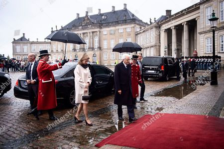 Italian President Sergio Mattarella (C) and his daugther and Italy's First LadyLaura Mattarella (2-L) arrive for a lunch with Denmark's Queen Margrethe II at Amalienborg Castle in Copenhagen, Denmark, 08 October 2019. Mattarella is on a one day official visit to Denmark during which he will visit a newly opened metro line in central Copenhagen that was built and is operated and maintained by Italian companies or joint ventures, the International Press Center (IPC) in Denmark said in a media release.
